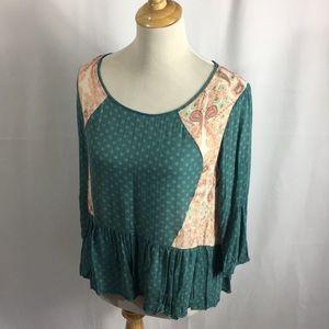 Free people bohemian blouse green M